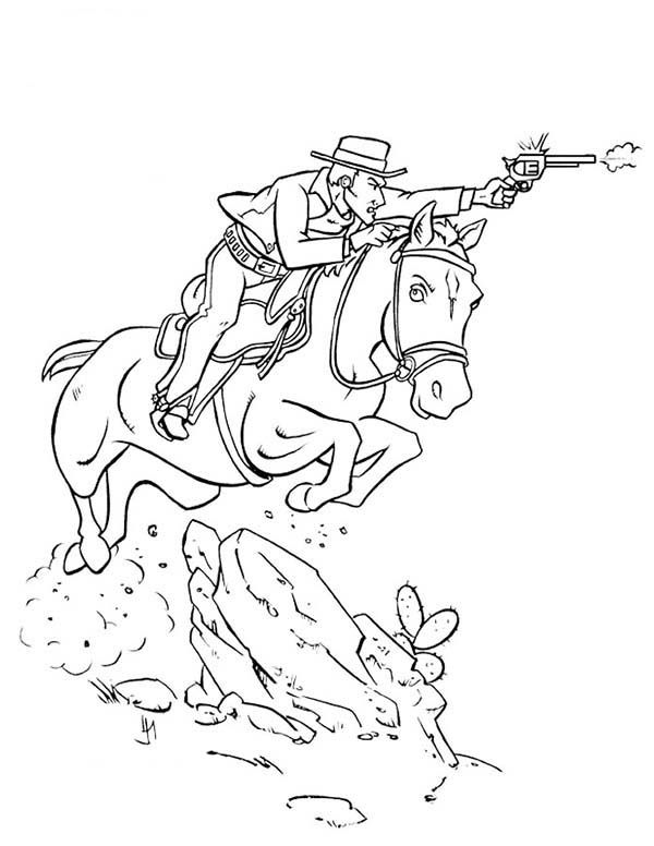 Cowboy Cowboy Shooting Bad Guy While Riding Horse Coloring Page