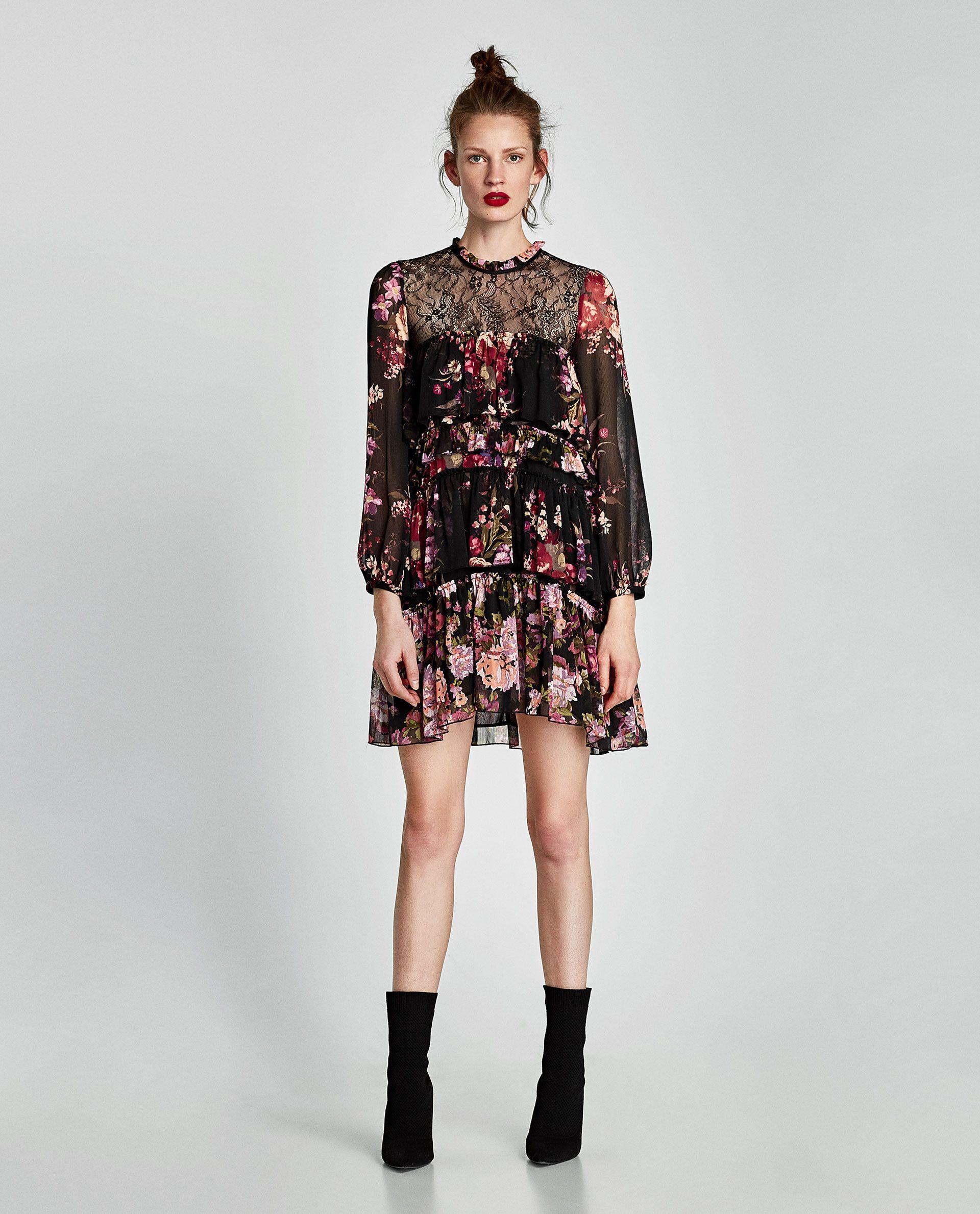 fde5f37f ZARA - WOMAN - COMBINED LACE DRESS WITH RUFFLES | Fashion - Zara SS ...