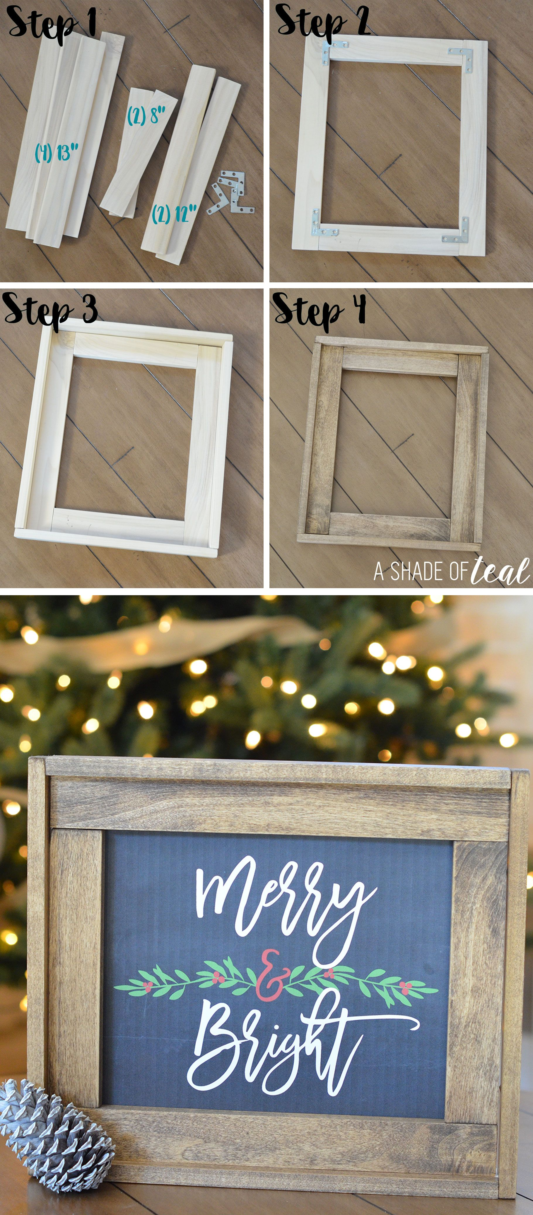 Christmas Mantle Update, How to make a Rustic Wood Frame