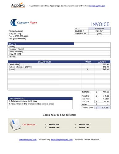 Word invoice template Free Invoice Template Online Pinterest