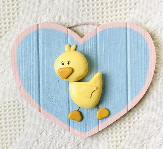 Baby Duck Wall Art Baby Duck Decor Painted Pebble Art Heart Etsy In 2021 Pebble Art Frog Wall Art Baby Wall Art