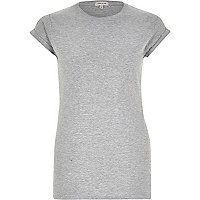 Grey fitted roll cuff t-shirt