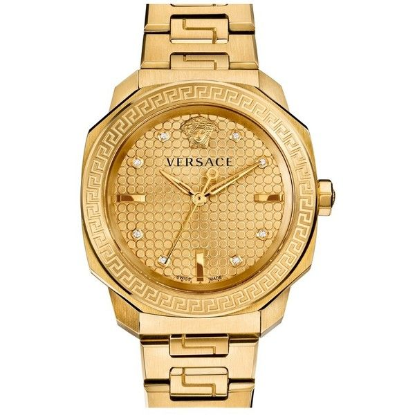 Versace 'Dylos' Bracelet Watch, 35mm (€1.860) ❤ liked on Polyvore featuring jewelry, watches, versace, accessories, gold, watch bracelet, stainless steel jewelry, stainless steel bracelet watch and stainless steel watches