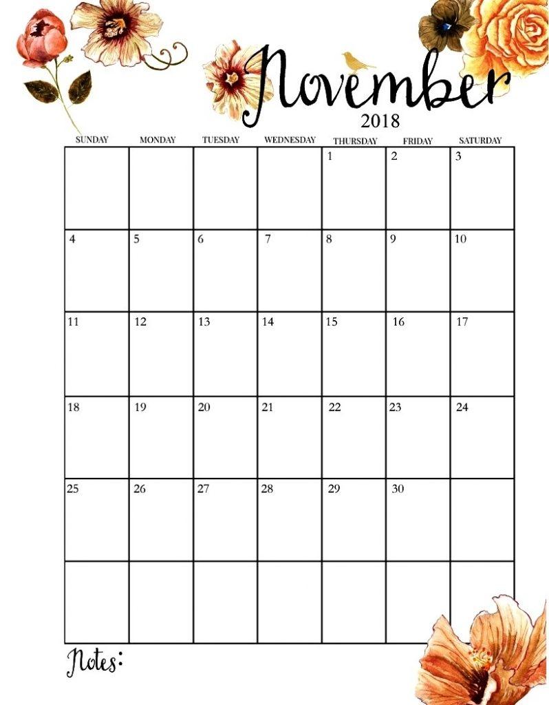 November 2018 Calendar Portrait Calendrier Novembre Calendrier