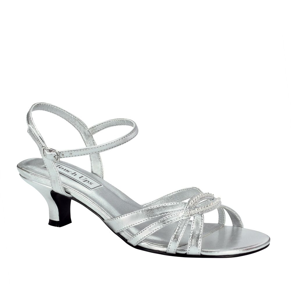 Dakota Silver Dress Low Heel Wide Width Shoes | Wedding ...