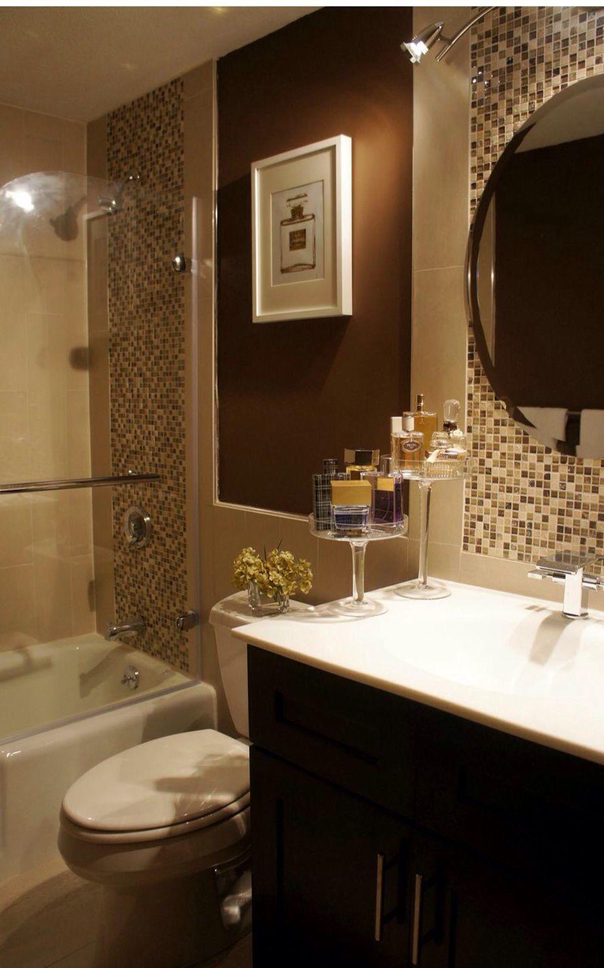 Perfume bottle staging | Brown bathroom | Bathroom Decor ...