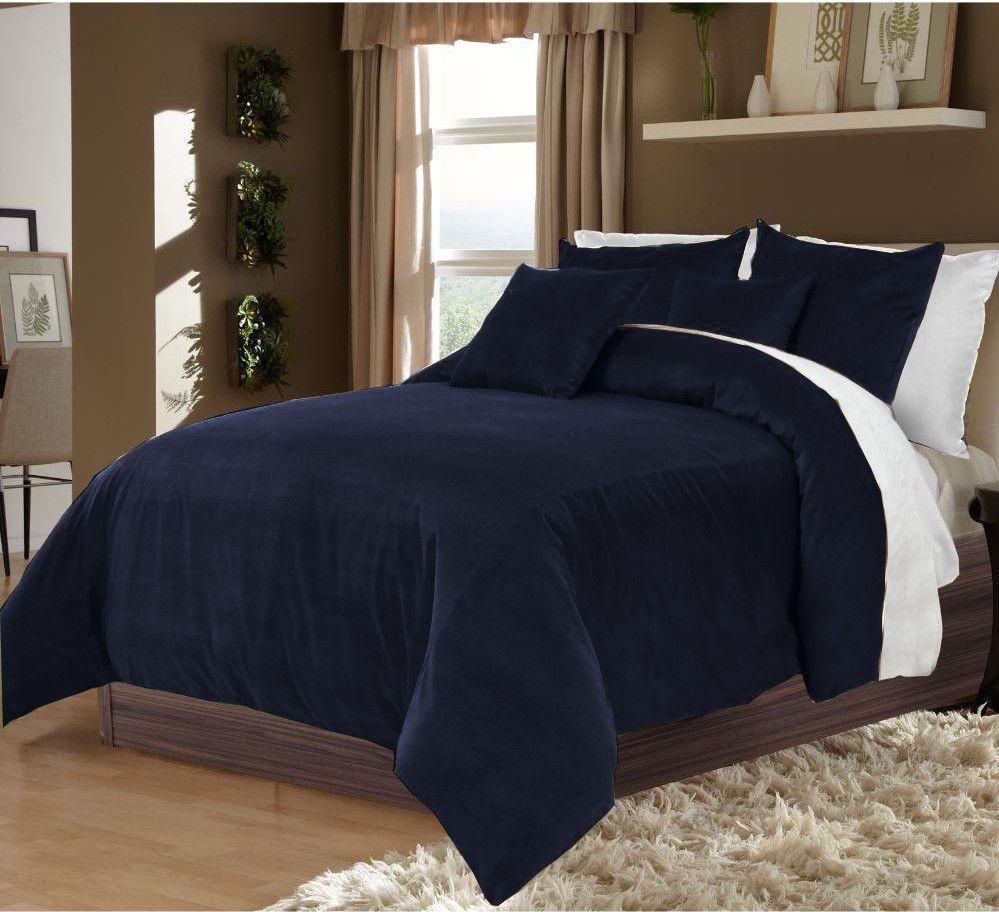 Reversible 100 Velvet King Navy Blue & White Duvet Cover