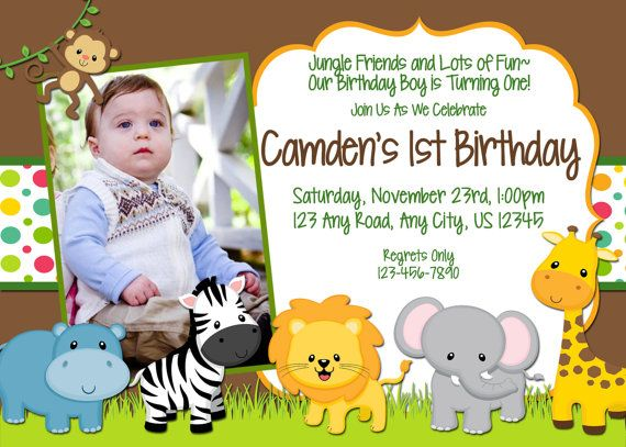 Printable Jungle Themed Birthday Invitation With Or By BeyerDesign 1000
