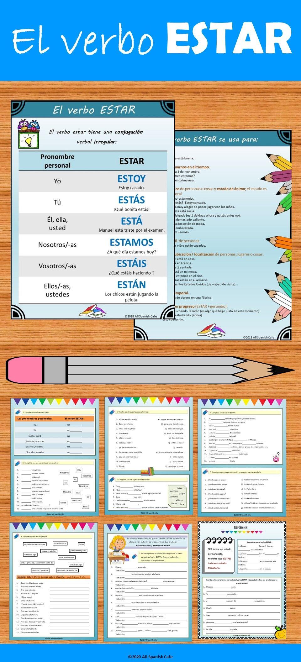 Spanish Verb Estar El Verbo Estar Handouts And Worksheets Spanish Teacher Resources Teaching Spanish Dual Language Classroom [ 2112 x 960 Pixel ]