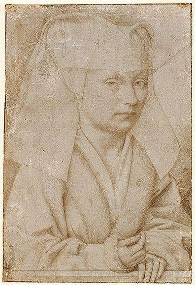 Petrus Christus: Petrus Christus, Portrait of a Young Woman, c. 1450, silverpoint on gray prepared paper...