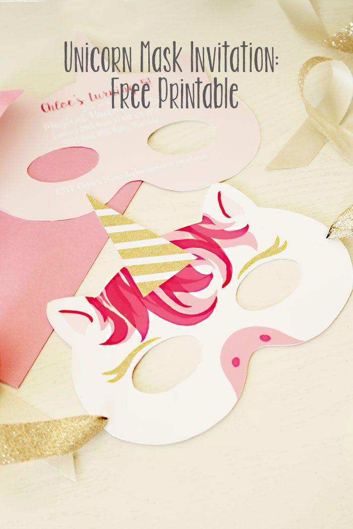 Unicorn Mask Invitation: Free Printable   Unicorn mask, Mask party ...