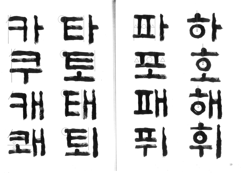 t115B r1 김세현 01 '서법교본 한글 판본체' 김종태 한글 판본체 각 글자의 형식과 글을 썼을 때의 배열을 담아 놓은 책이다. 김종태 교수의 한글의 변천 역사가 함께 담겨 있다. 마른 붓으로 쓴 필체로 쓰여있는 것이 특징이다.