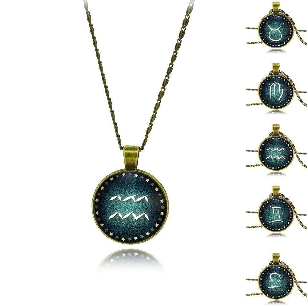 Vintage glass cabochon signs of zodiac necklace men women