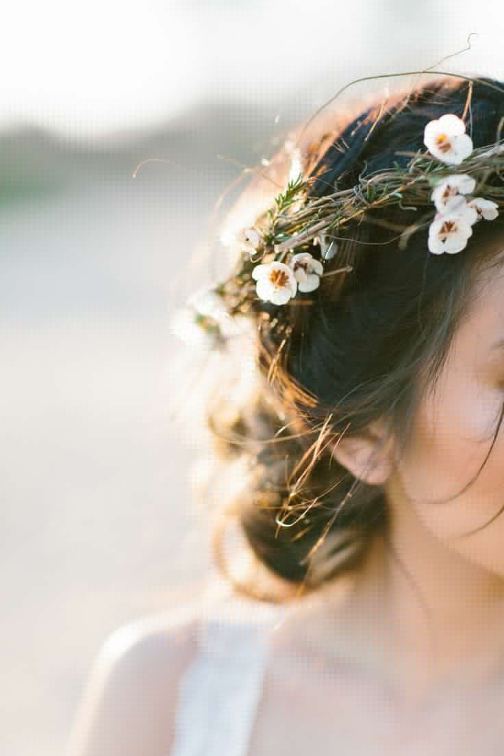 Tips and ideas for wearing fresh flowers in your hair for your floral crown with itty bitty white flowers wispy and natural perfect for a beach wedding izmirmasajfo