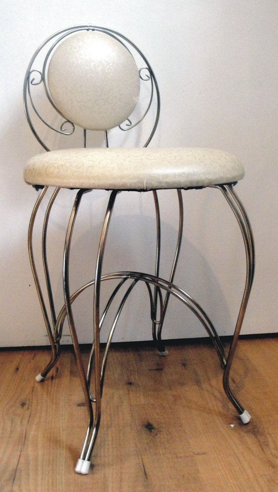 Vintage 1950 s Vanity Seat Chair Stool by Lifeinmommatone on Etsy  55 00
