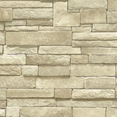 The Wallpaper Company 56 sq. ft. Neutral Stone Wallpaper
