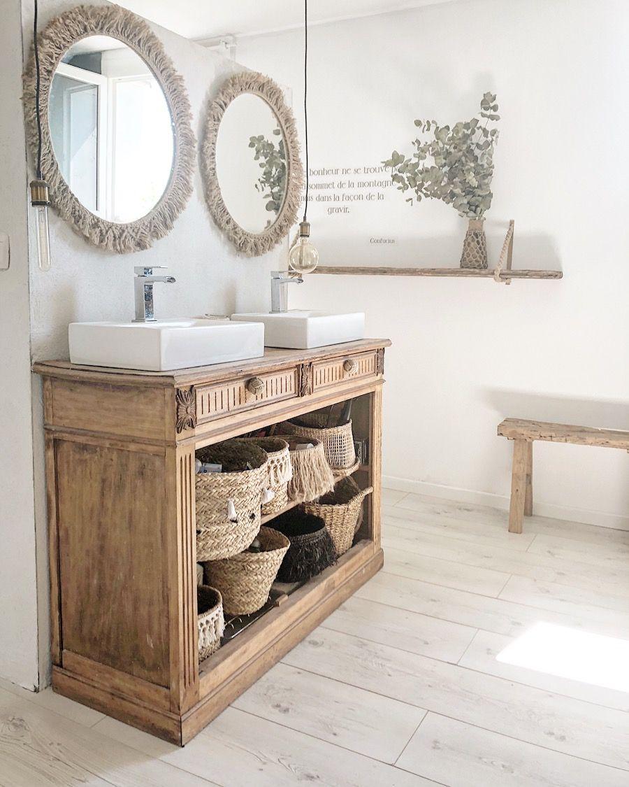 Salle de bain, bohème, miroir, diy, jute, meuble recup, bois ...