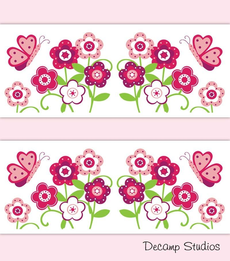 Butterfly Garden Wallpaper Border Wall Art Decals Floral Girls Room Stickers Decor Estampas Estampa Para Canecas Patchwork