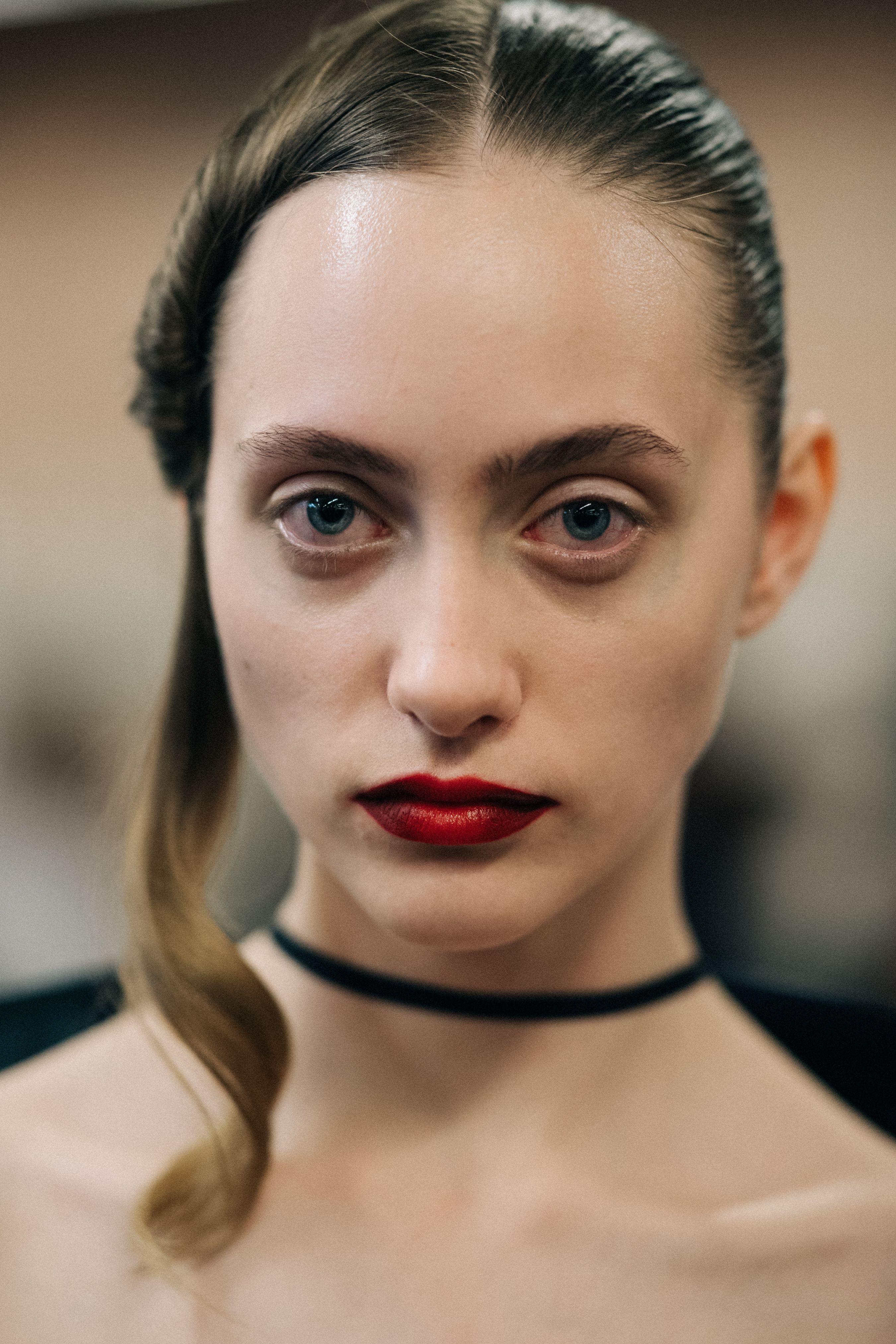 Backstage at Helmut Lang New York City Makeup looks