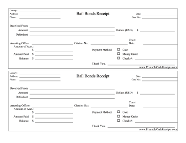 Bail Bonds Receipts Bail Bail Bondsman Bond