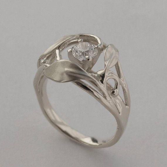 Leaves Engagement Ring No. 5 Platinum and Diamond by doronmerav