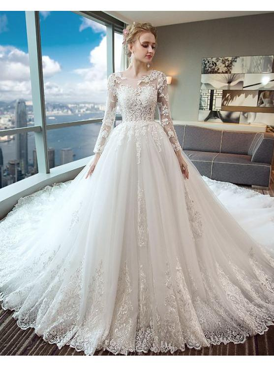 Gorgeous Wedding Dress 2018 Scoop Lace Applique Flowers Tulle Long Sleeve Bridal Gown Am882 Wedding Dresses Long Sleeve Bridal Gown Wedding Dress Sleeves