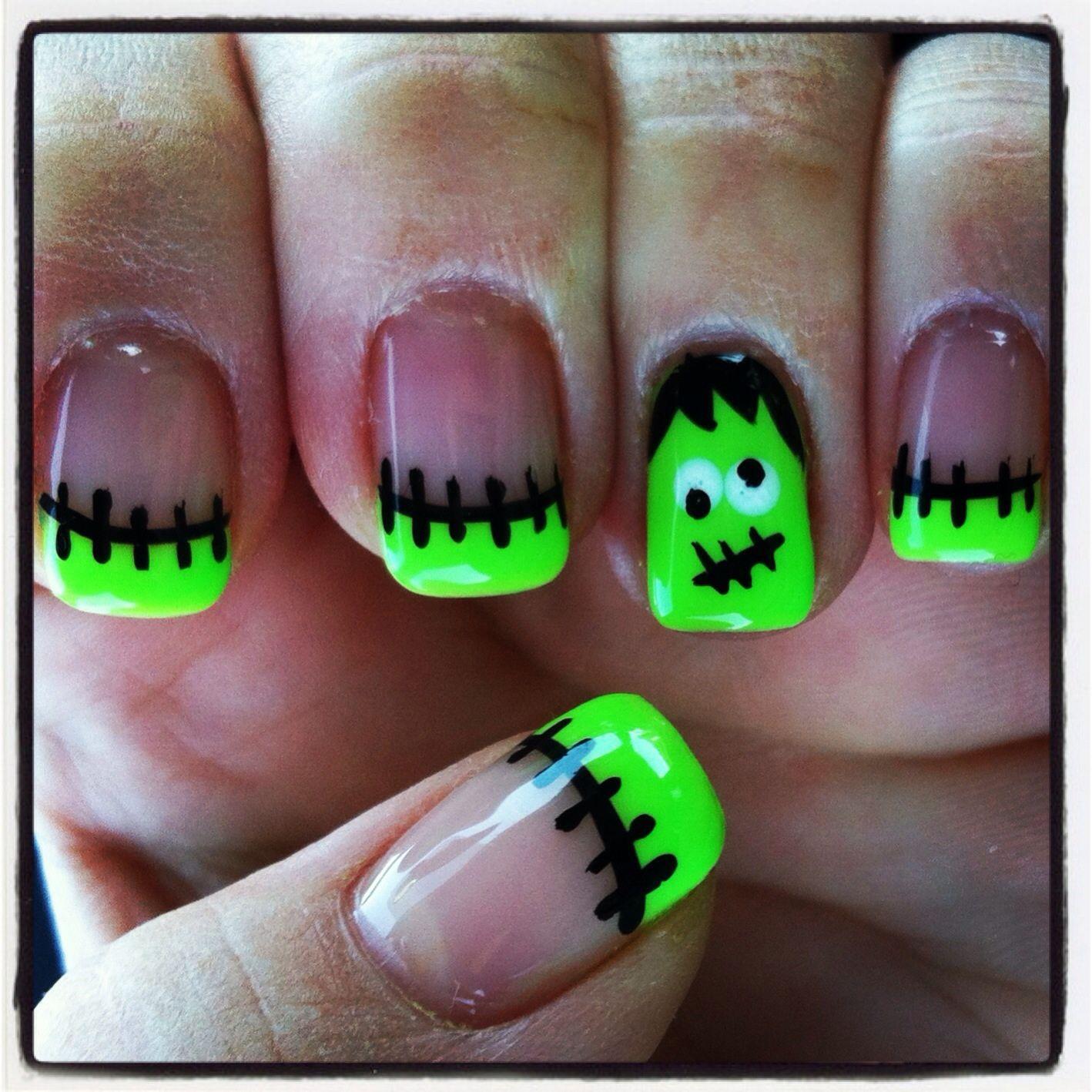 Frankenstein halloween nail art but i call him frankie cool