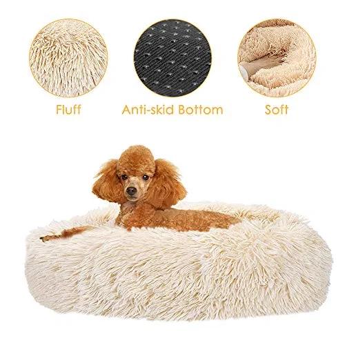 SlowTon Dog Bed, Ultra Soft Donut Cuddler Nest Warm Plush