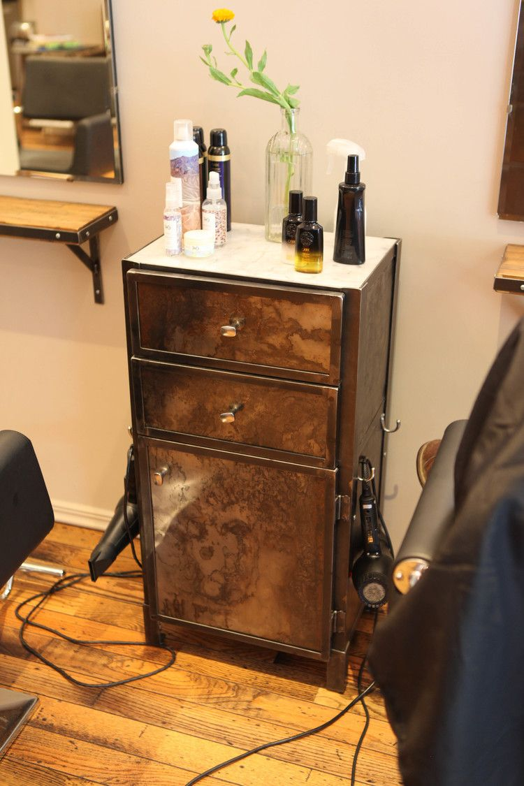 Beau Custom Salon Furniture Made By Brooklyn Reclamation For Little Axe Salon.  Stylist Station Cabinet Made