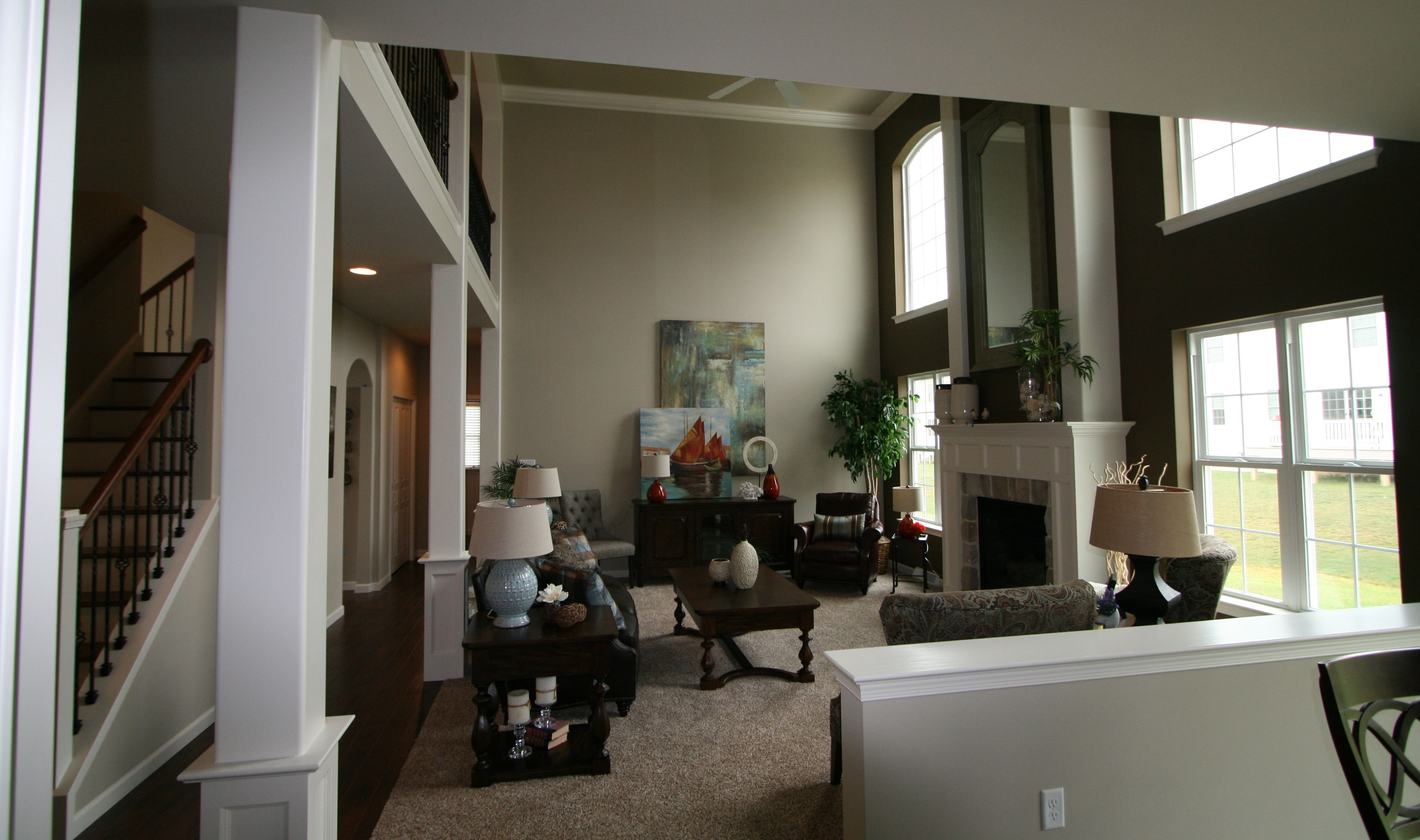 living room wall paint colors%0A Two Story Accent Wall in the Ellsworth Parade home in Orchard Glen  Paint  Color
