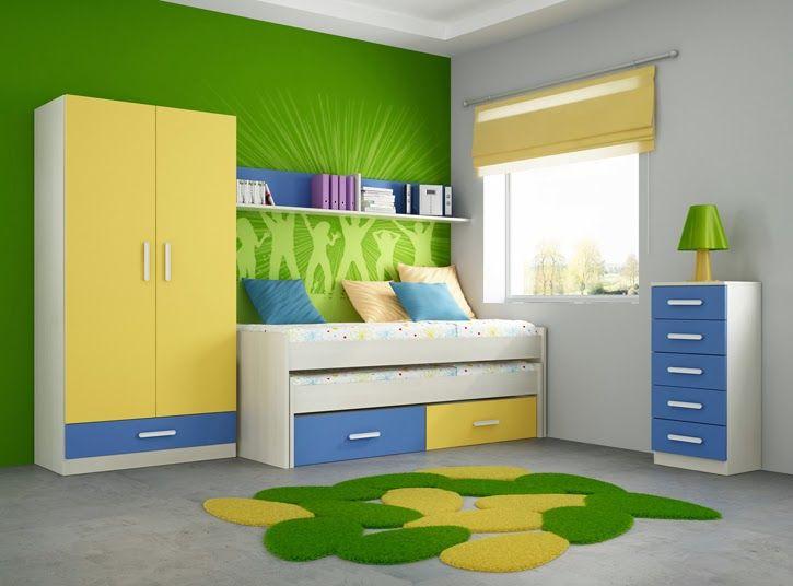 Combinacion amarillo azul rojo y verde buscar con google for Cuartos decorados azul