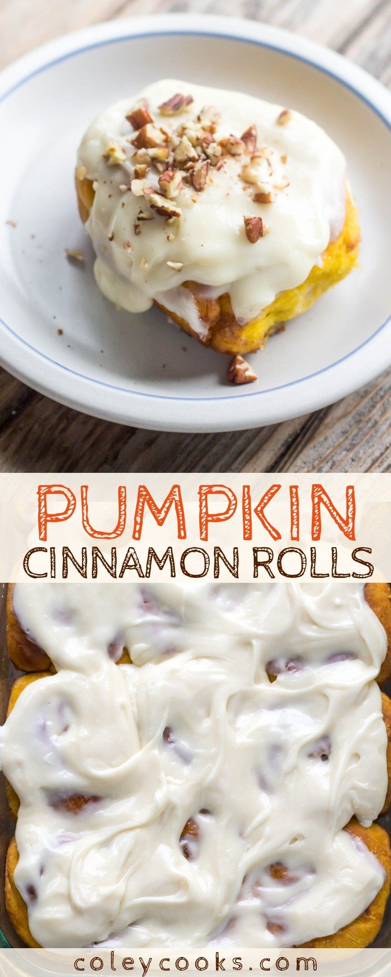 Pumpkin Cinnamon Rolls PUMPKIN CINNAMON ROLLS | Insanely delicious pumpkin cinnamon bun recipe with cream cheese frosting perfect for fall and Thanksgiving! |