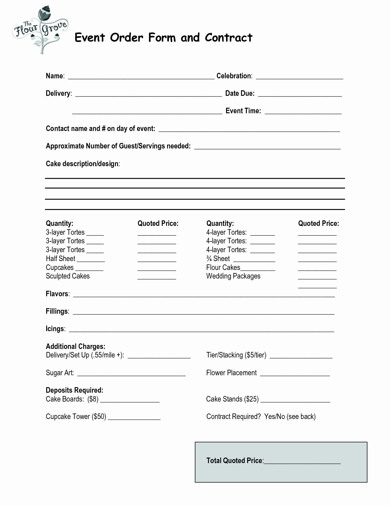 Cake Order Form Template Word Inspirational Cake Order Contract Event Order Form And Contract Wedding Cake Order Form Cake Pricing Cake Order Forms