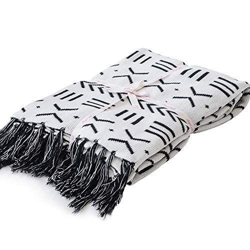Astounding Lakemono 100 Cotton Knitted Blanket Black And White Two Machost Co Dining Chair Design Ideas Machostcouk