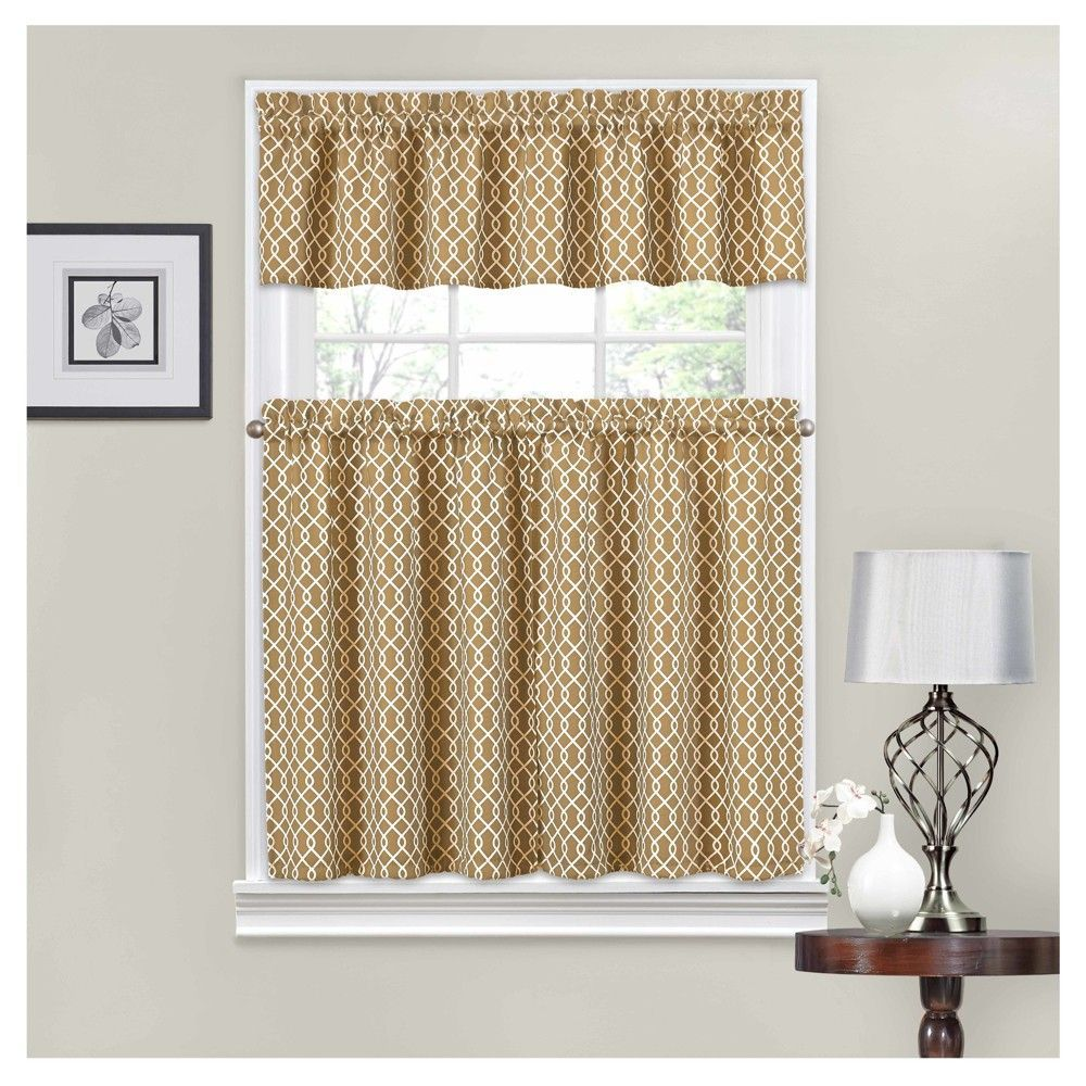 Curtain tiers traditions bywaverly tan ivory trellis blue ivory