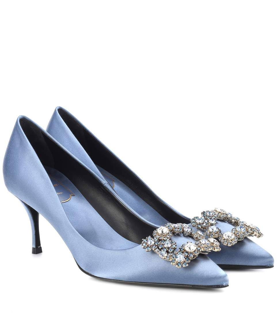 Light blue embellished satin pumps / Roger Vivier