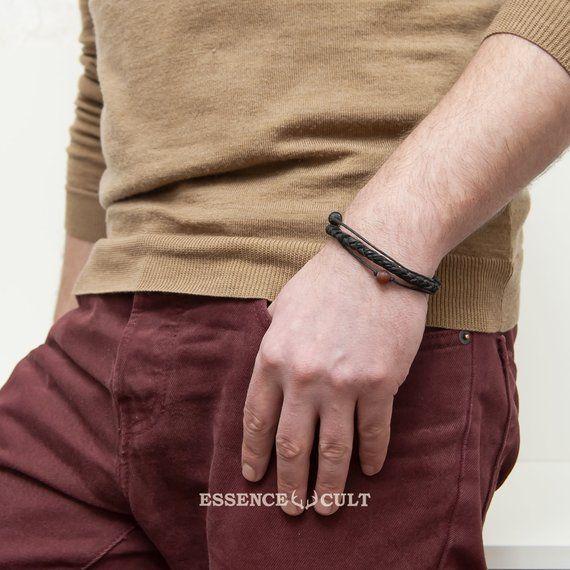 7a4f7f0c5b54ed Men leather bracelet RED planet, minimalist bracelet, men's jewelry, unisex  leather and stones clas