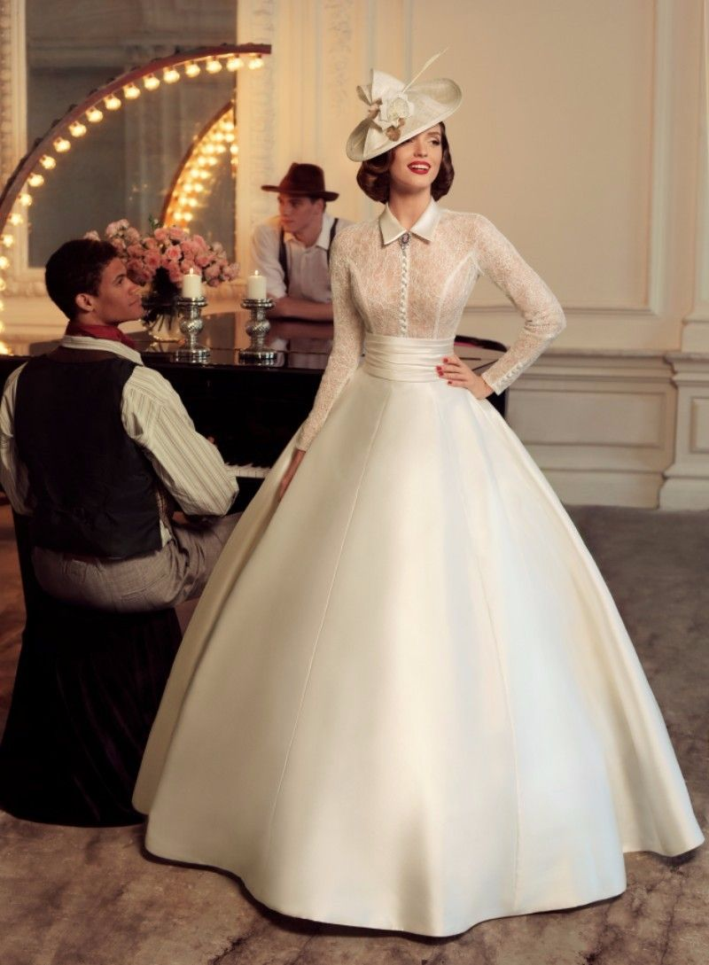 Cw130 Vintage High Neck Long Sleeves Wedding Dress Wedding Dresses Vintage 20s Long Sleeve Ball Gown Wedding Dress Long Sleeve Ball Gowns [ 1089 x 800 Pixel ]