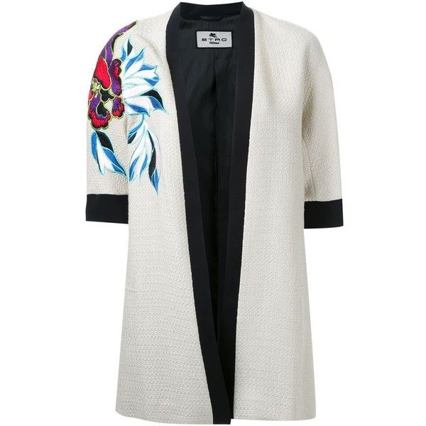 EMBROIDERED DETAIL KIMONO ETRO エトロ ❤ liked on Polyvore featuring intimates, robes, embroidered kimono, embroidered robes, kimono robe and etro