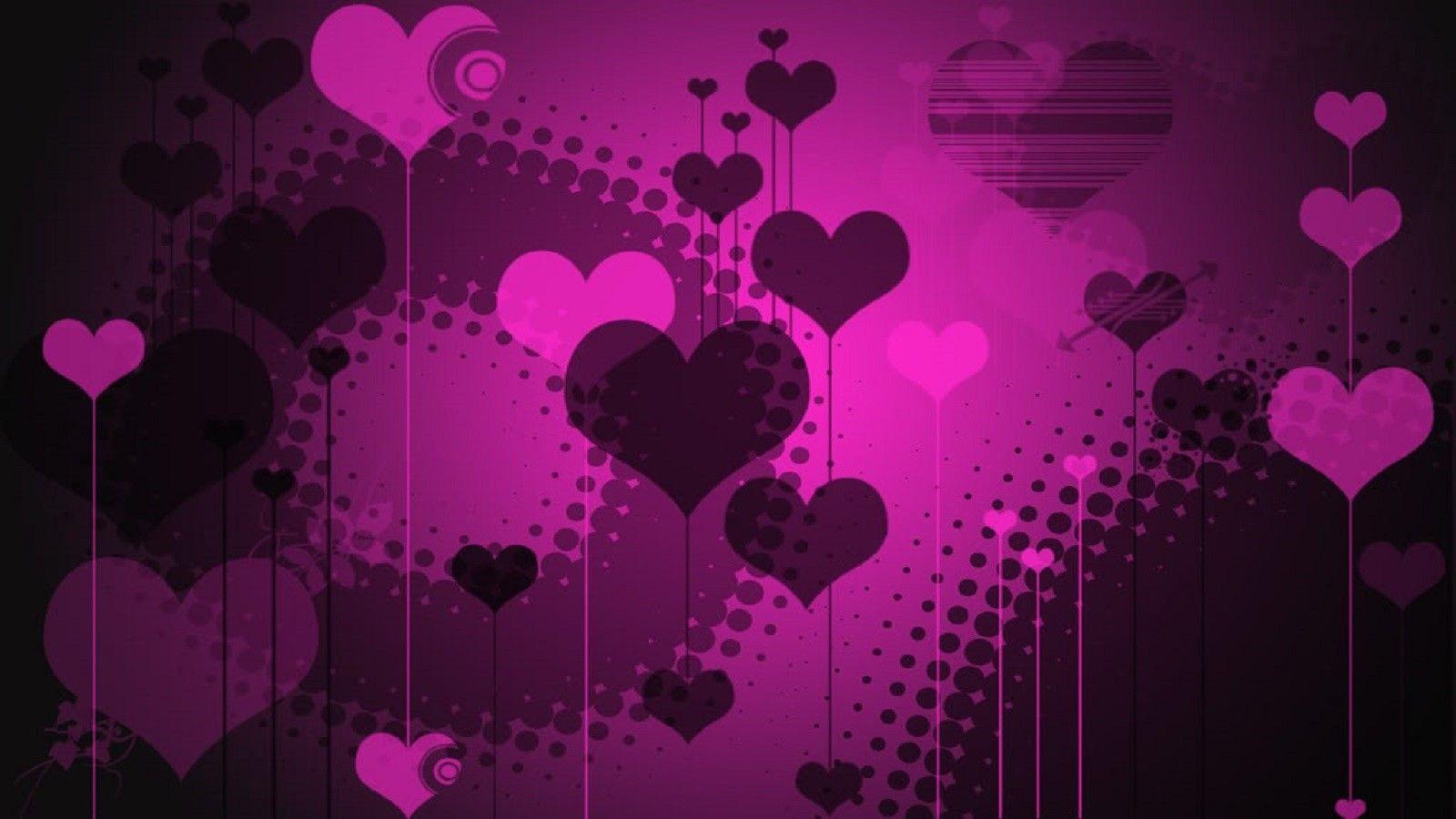 Purple Pink Hearts Purple Hearts Wallpaper