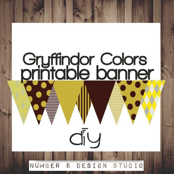 INSTANT DOWNLOAD Printable Banner decoration GRYFFINDOR ...