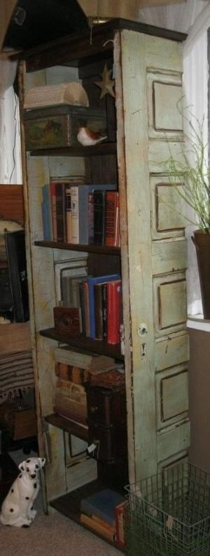 Bookshelf Made From Vintage Old Doors Cut One Door In Half To Make Sides Repurpose Salvage Upcycle Recycle Diy Cottage Style Home Decor Or Retail