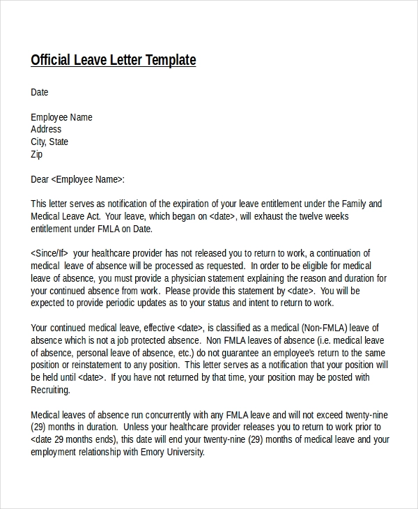 Official Letter Format Leave Application . Official