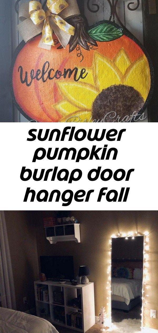 Sunflower pumpkin burlap door hanger fall decoration 1,  #Burlap #Decoration #door #doorhange... #sunflowerbedroomideas