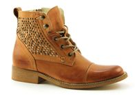 Online Shoes 4391 cognac hoge veterschoenen