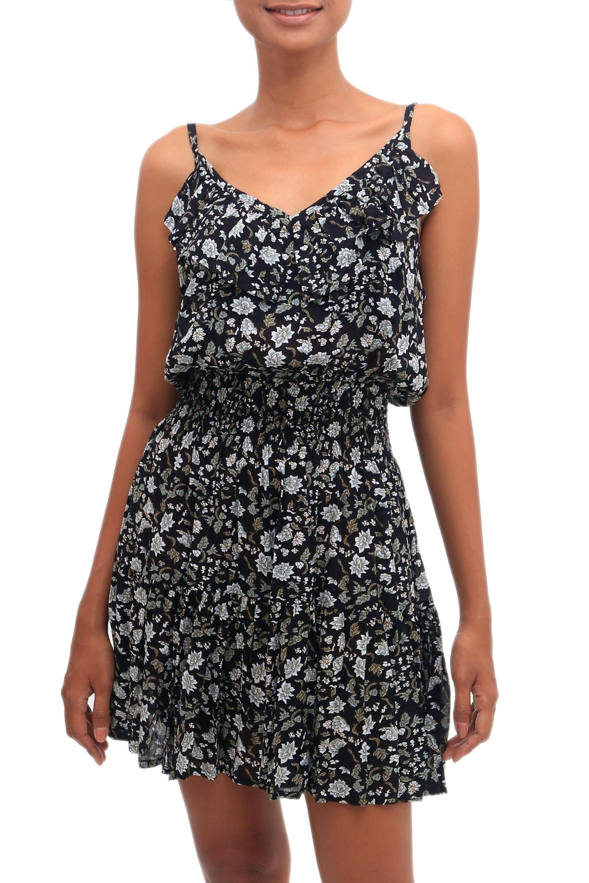 Floral Printed Rayon Short Sundress from Bali, 'Venus Flowers' #shortsundress Rayon short sundress, 'Venus Flowers' #Sponsored #short, #sponsored, #Rayon, #sundress, #Flowers #shortsundress