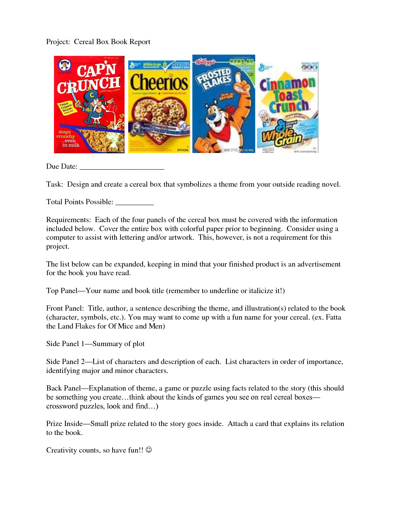 Cereal Box Book Report Template