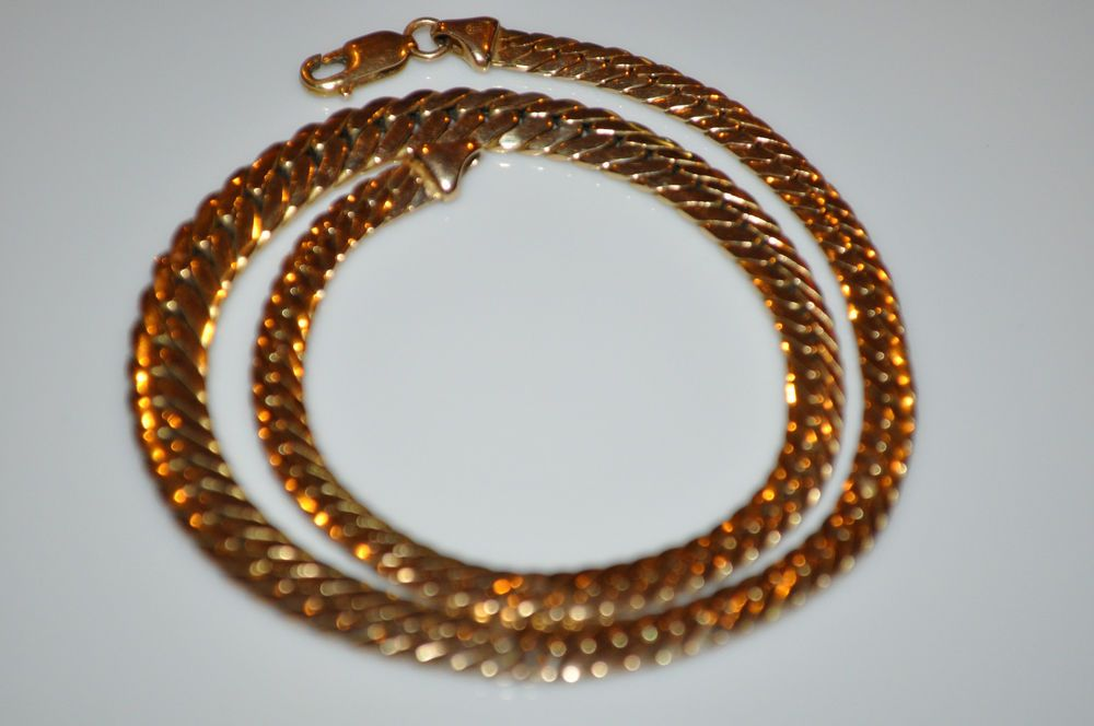 """Vintage MB Italy 14K Yellow Gold Cuban Link Chain Ladies Necklace 5mm - 8mm 16""""  #MB #Chain"""
