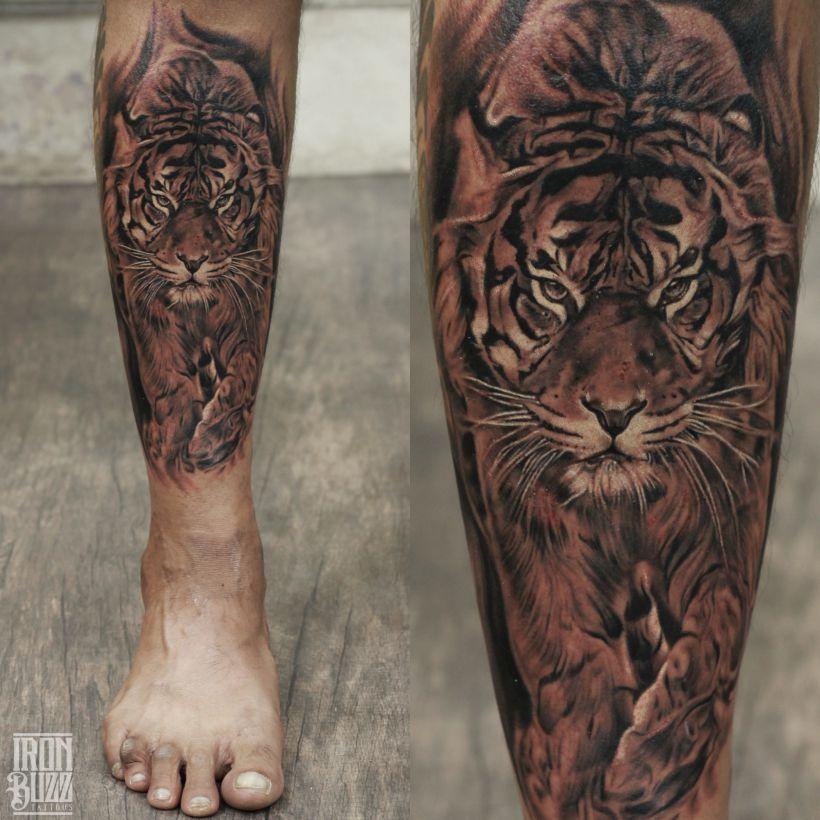 Lord Shiva Tattoo The Lord Is Back Series By Eric Jason: REALISTIC TIGER TATTOO ON LEG #tiger #walking #wildanimal
