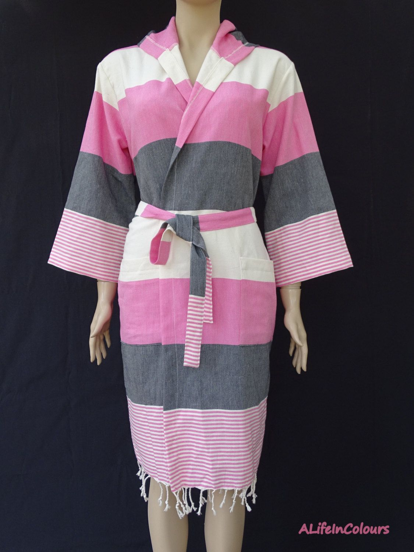Women\'s pink and black striped soft light weight cotton Turkish ...